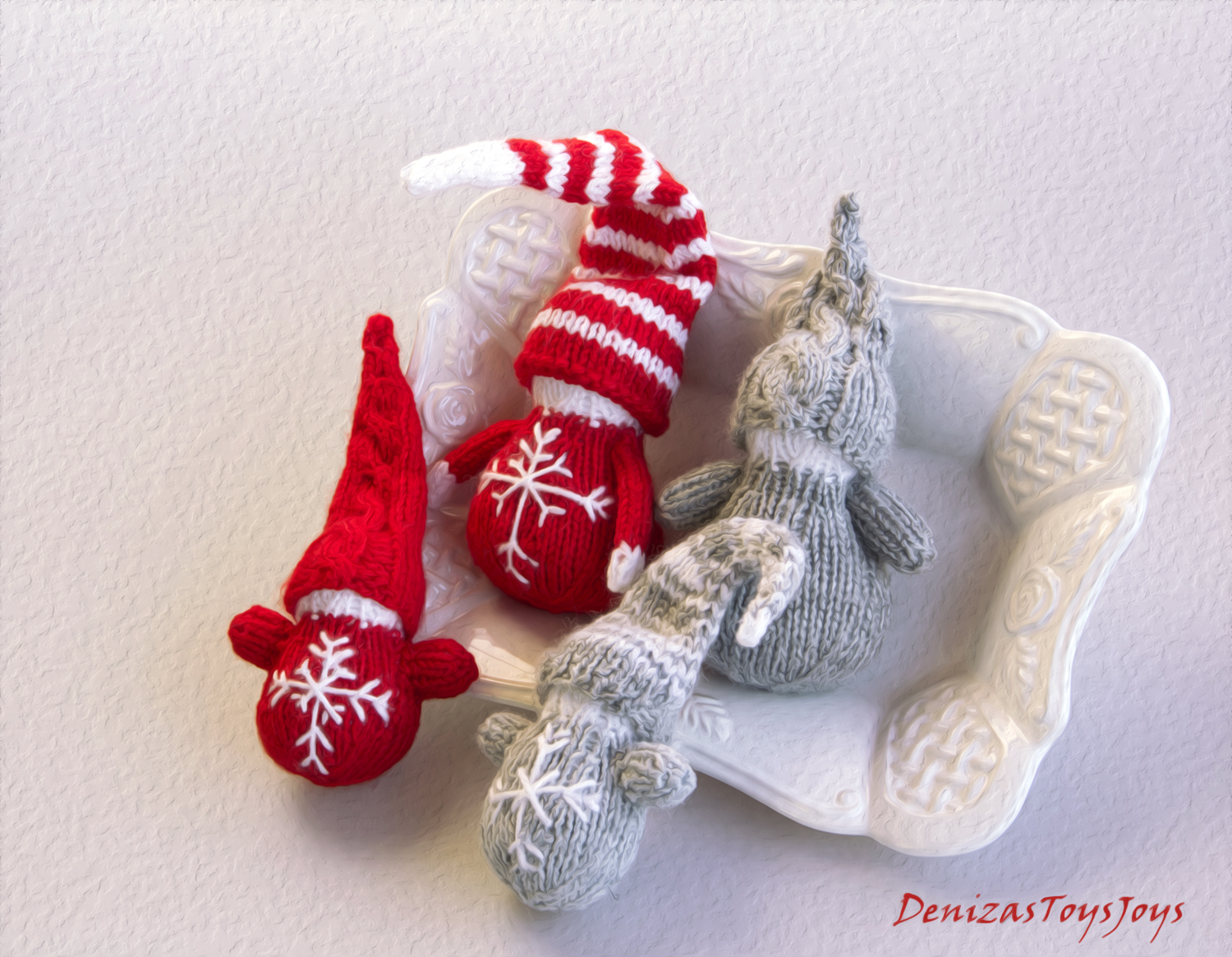 Waldorf Christmas Gnomes - Pdf Knitting Patterns. Christmas Ornament ...